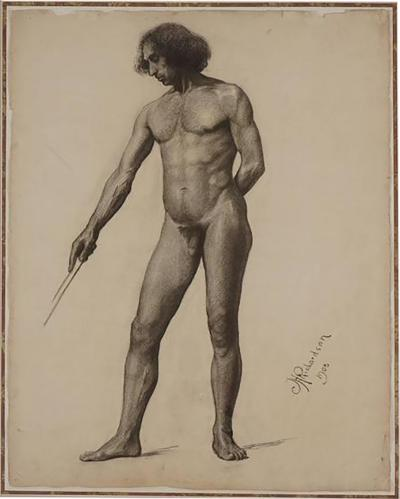 Large Academic Male Nude Charcoal on Paper Drawing 1905