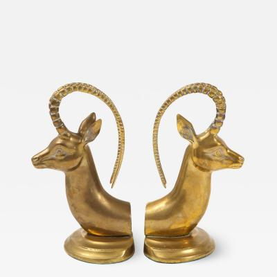 Large Aged Brass Ibex Bookends