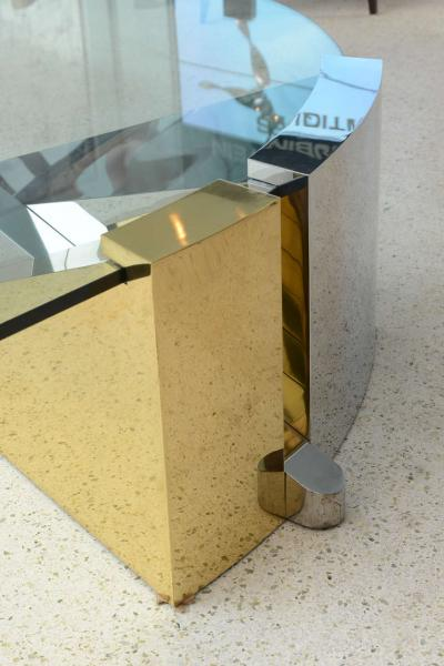 Large American Modern Polished Brass Chrome and Stainless Low Table Ron Seff