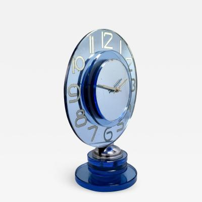 Large And Rare Model Modernist Art Deco Blue Mirror Clock Circa 1935