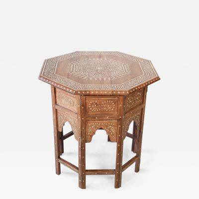 Large Anglo Indian Octagonal Tea Table with Inlay