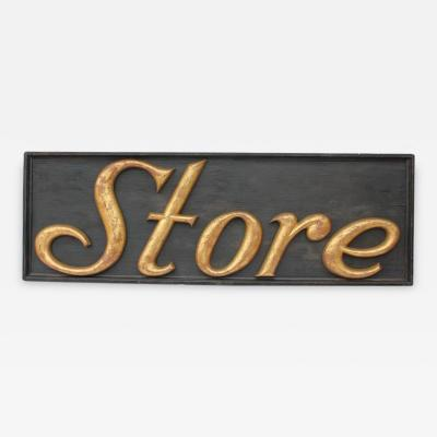Large Antique Gilded Cast Iron Sign Store