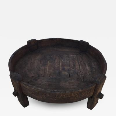 Large Antique Round Tribal Low Grinder Table