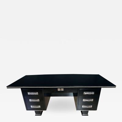 Large Art Deco Executive Desk Black Piano Lacquer and Chrome France circa 1930
