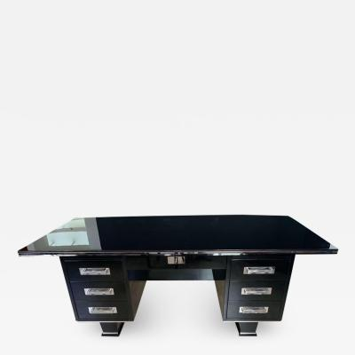 Large Art Deco Executive Desk Black Piano Lacquer and Chrome France circa 1930