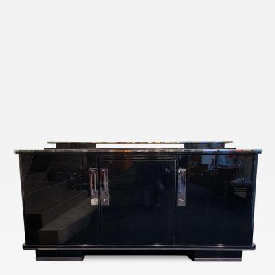 Large Art Deco Sideboard Black Lacquer and Nickel Germany circa 1930