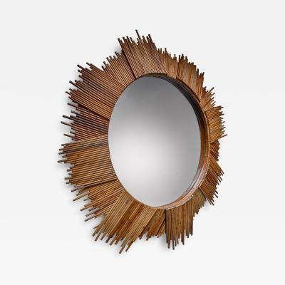 Large Bamboo sunburst wall mirror 115 cm 45 inch diameter