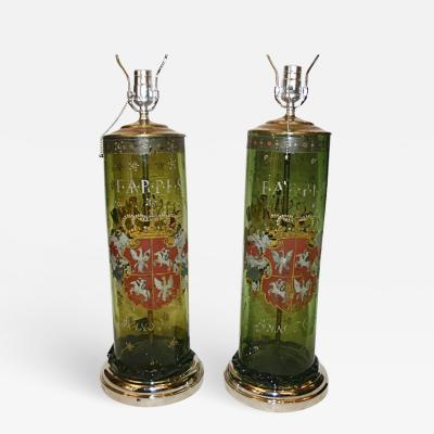 Large Blown Glass Lamps with Coats of Arms