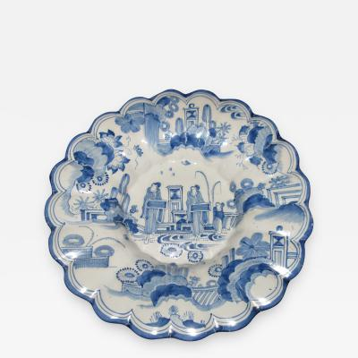 Large Blue and White Scalloped Dish with Chinoiserie Landscape