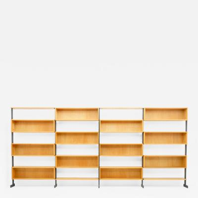 Large Bookcase Free Standing Shelf Oak and Metal Germany 1960s