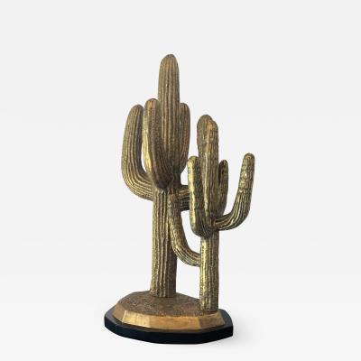 Large Brass Cactus Sculpture