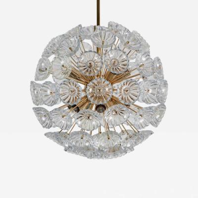 Large Brass and Glass Germany Flower Sputnik Chandelier