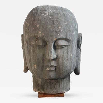 Large Carved Wood Buddha Head