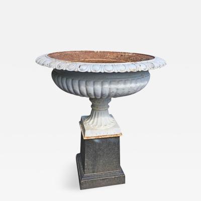 Large Cast Iron Garden Urn on Pedestal