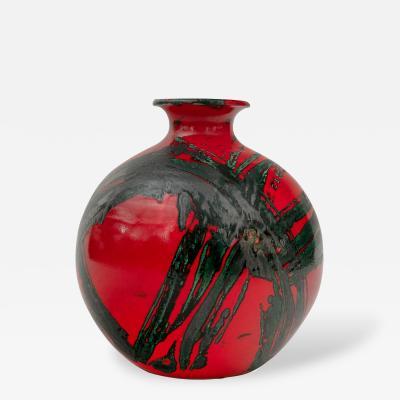 Large Ceramic Midcentury Bulbous Red Vase