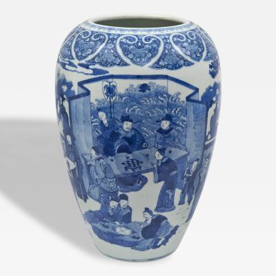 Large Chinese Blue White Vase Circa 1860