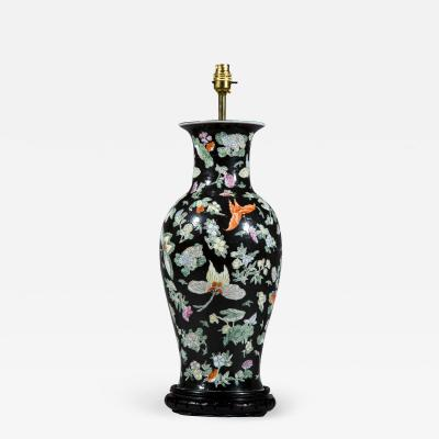 Large Chinese Vase Lamp Famille Noir with Butterfly Decoration