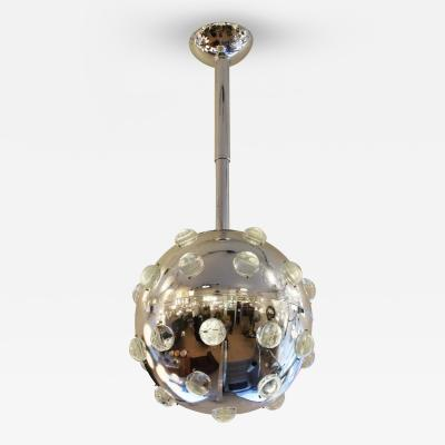 Large Chrome Pendant with Glass Studs Italy 1970s