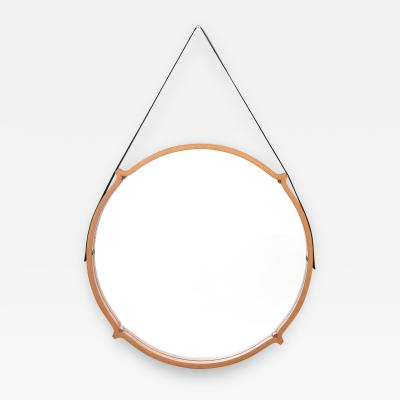 Large Circular Teak Italian Mirror With Leather Strap Hanger