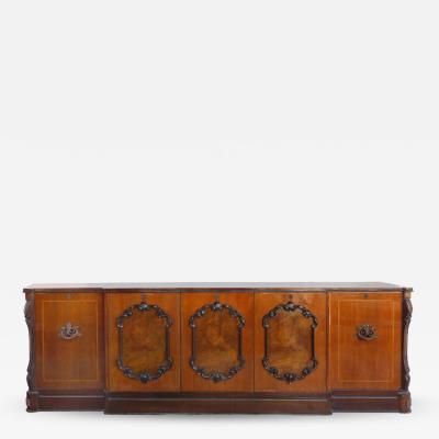 Large Classical Mahogany Walnut Satinwood Ebonized Wood Sideboard Credenza