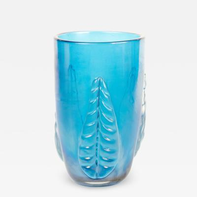 Large Contemporary Blue Murano Vase
