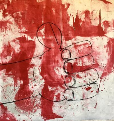 Large Contemporary Oil Painting Red Thumb