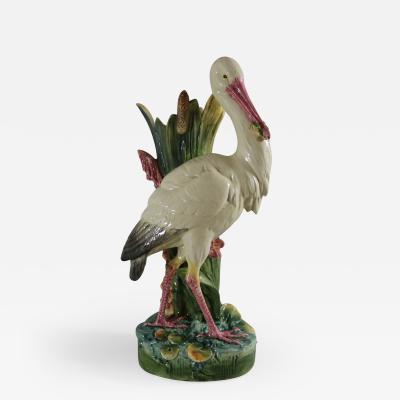 Large Continental Majolica Stork Figural Vase