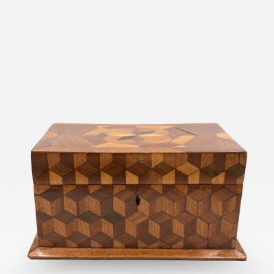 Large Cube Shaped Box With Tumbling Block Marquetry