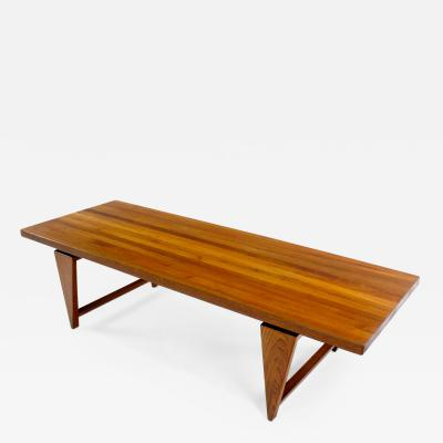 Large Danish Modern Solid Staved Teak Coffee Table