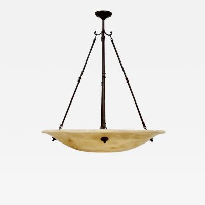 Large Deco Style Alabaster Chandelier or Plafonnier
