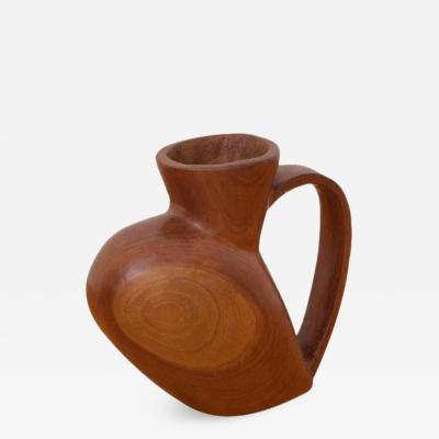 Large Decorative Solid Wood Pitcher by French Woodworker Azrou