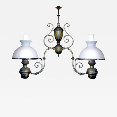 Large Double Arm Oil Lamp Newly Electrified