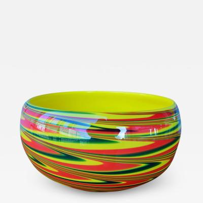 Large Dramatic Murano Cased Glass Swirl Bowl in Yellow Red and Green