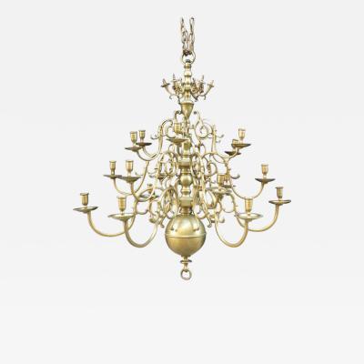 Large Dutch Baroque Style 18 Light Brass Chandelier