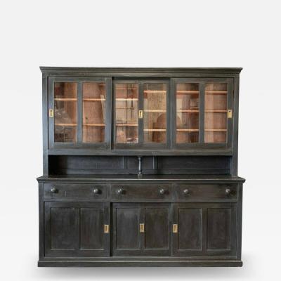 Large Ebonised Glazed Butlers Pantry Cabinet
