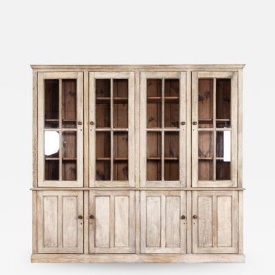 Large English Bleached Oak Glazed Bookcase
