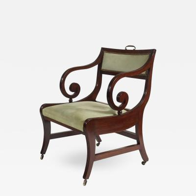 Large English Regency Klismos Form Armchair or Library Chair circa 1815