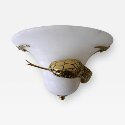Large Exceptional Cast Brass Alabaster Snake Sconce or Wall Lamp Italy 1970s