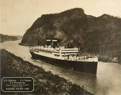Large Framed B W Photograph of the SS California Panama Pacific Line 1930