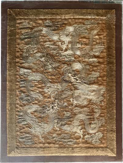 Large Framed Japanese Embroidery Dragon Tapestry