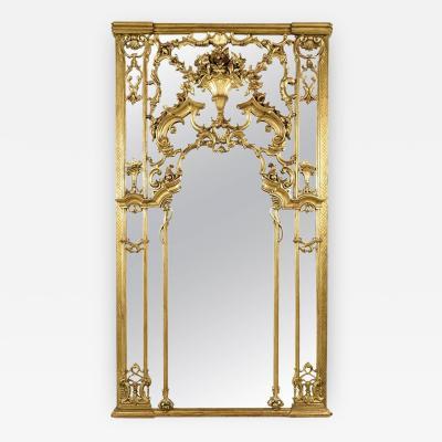 Large French Antique Louis XVI Style Gilt Mirror