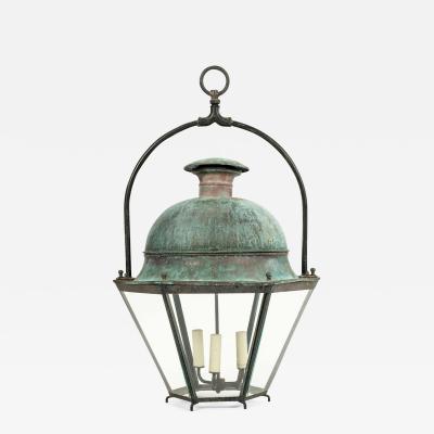 Large French Hexagonal Green Verdigris Copper Lantern