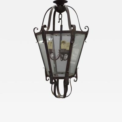 Large French Mid Century Wrought Iron Lantern Pendant Chandelier 1940
