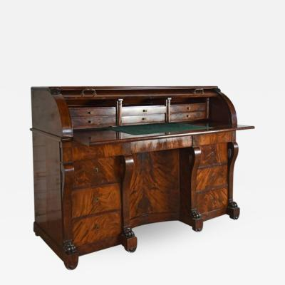 Large French Neoclassical Mahogany Roll Top Desk