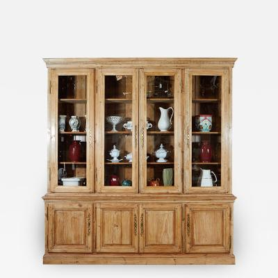 Large French Pine Cabinet Bookcase