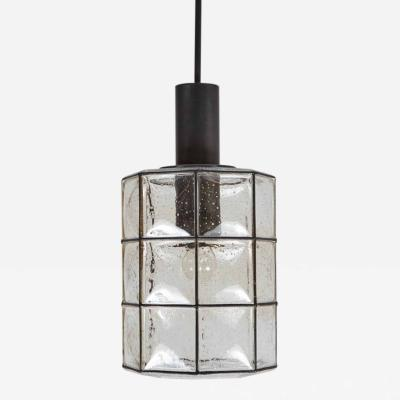 Large German Iron and Glass Cylinder Pendants