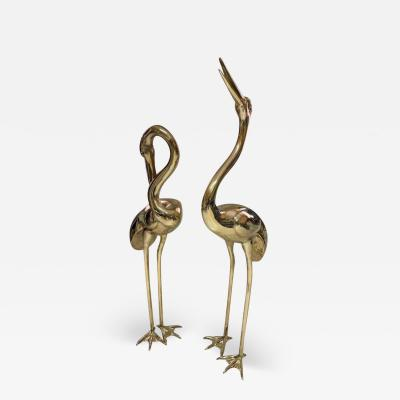 Large Gilt Bronze Sculptures of Herons