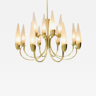 Large Glass and Brass Chandelier 1950s