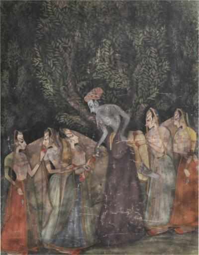 Large Gouache Painting of Krishna with Female Gopis Dancing