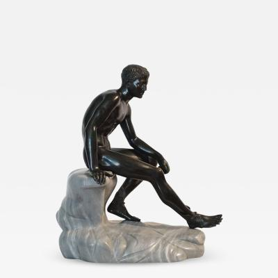 Large Grand Tour Bronze and Marble Sculpture of the Seated Hermes circa 1890